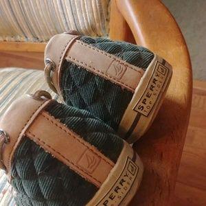 Women's green kaki Brown top wider Sperry shoes8.5
